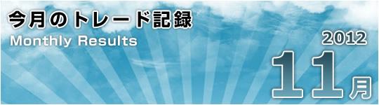 日足雲インのまま:2012年11月のトレード総括(+621pips)